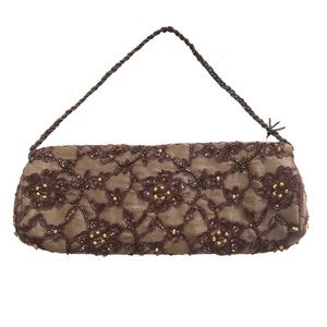 Moyna Beaded Brown Clutch